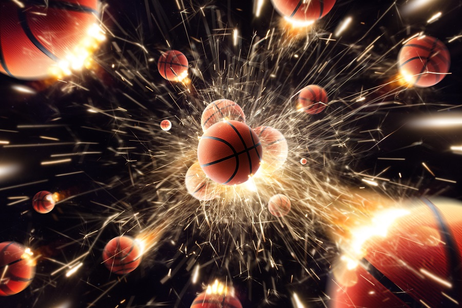 Basketball. Basketball balls with fire sparks in action.